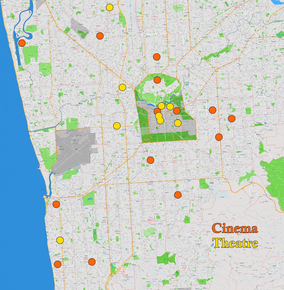 Adelaide Suburb Map - Cinemas & Theatres - April 2019 Smaller